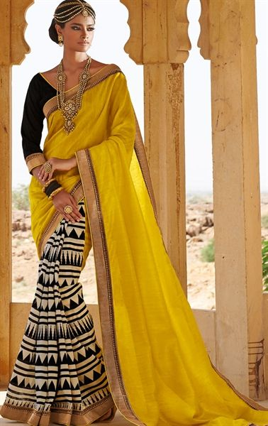 Yellow and Off White Color Designer Saree