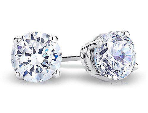 Solitaire Stud Diamond Earrings 1.0 Carat (ctw) in 14K White Gold (I2-I3)