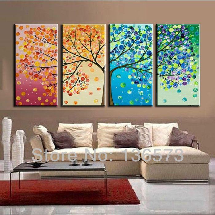 large 4 piece canvas art cheap modern abstract wall panel decor 4 season tree artwork picture - Cheap Canvas Wall Art