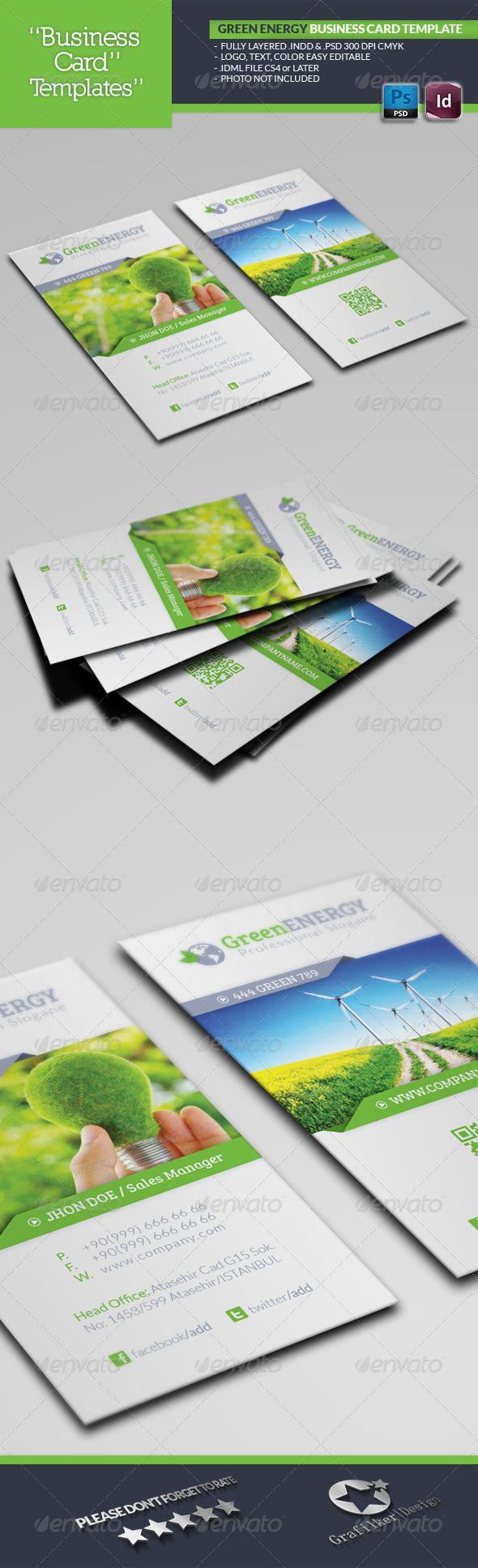 Green Energy Business Card Template #GraphicRiver Green Energy Business Card Template Fully layered INDD Fully layered PSD 300 Dpi, CMYK IDML format open Indesign CS4 or later Completely editable, print ready Text/Font or Color can be altered as needed All Image are in vector format, so can customise easily Photos are not included in the file Font File: Lato Font: .fontsquirrel /fonts/lato Bree-serif: .fontsquirrel /fonts/bree-serif Help.txt file Created: 13June13 GraphicsFilesIncluded…
