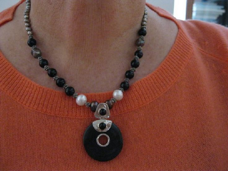 Black WoodOnyx and Platinum Pearl Pendant by JulleenJewels on Etsy