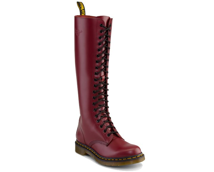 extra tall cherry red Dr. Martens