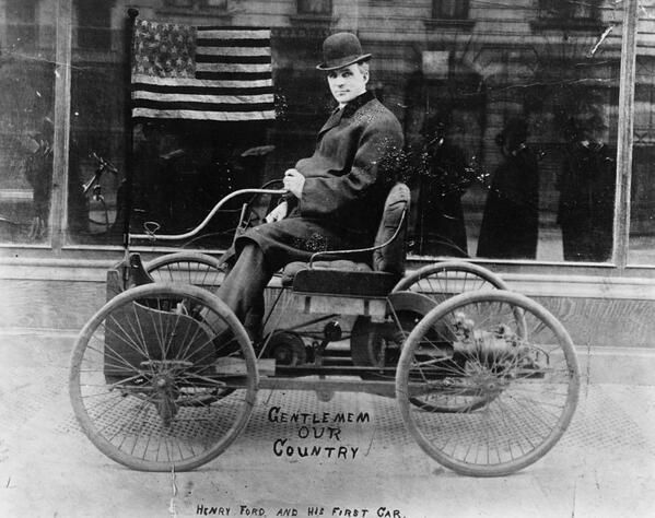 Henry Ford poses on the first car he built, the Ford Quadricycle, 1896.- History Lovers Club (@historylvrsclub)   Twitter