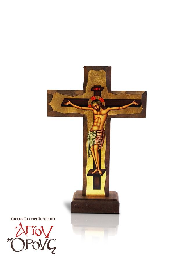 Table and Wall Cross with gold leaf - Father Pefkis - The table and wall cross is a unique artwork that was imprinted on natural wood. It stands out thanks to its golden background details and can be hung on a wall or placed on a flat surface! Dimensions: 18×27 #table #wall #cross #mount #athos #handicrafts #agio #oros #monastiriaka #proionta #orthodoxia