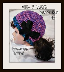 KNITTING PATTERN - 3 Ways Messy Bun Hat- This hat can be finished to wear in either of 3 ways… with the opening close to the ribbing along the bottom, half way up the back, or in the top of the hat. This is very easily achieved because the hat is worked flat, and then the seam can be sewn to leave an opening in either of the 3 spots!