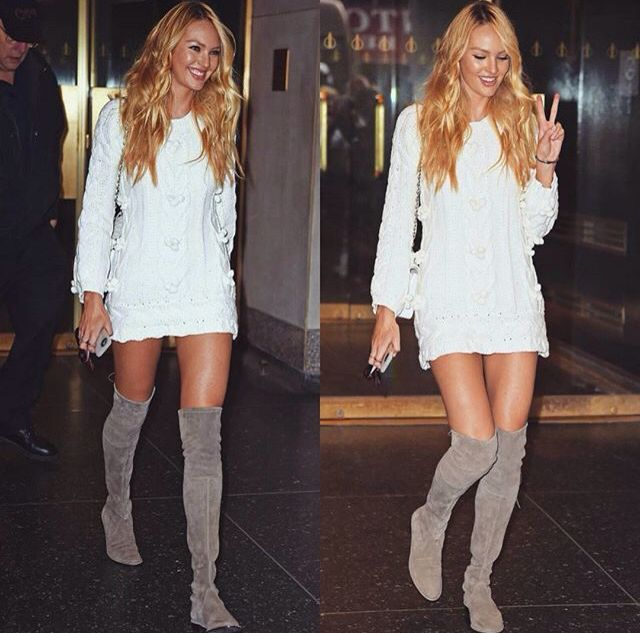 Pinterest: @barbphythian || styling: Knee high boots | grey/taupe over the knee flat boots