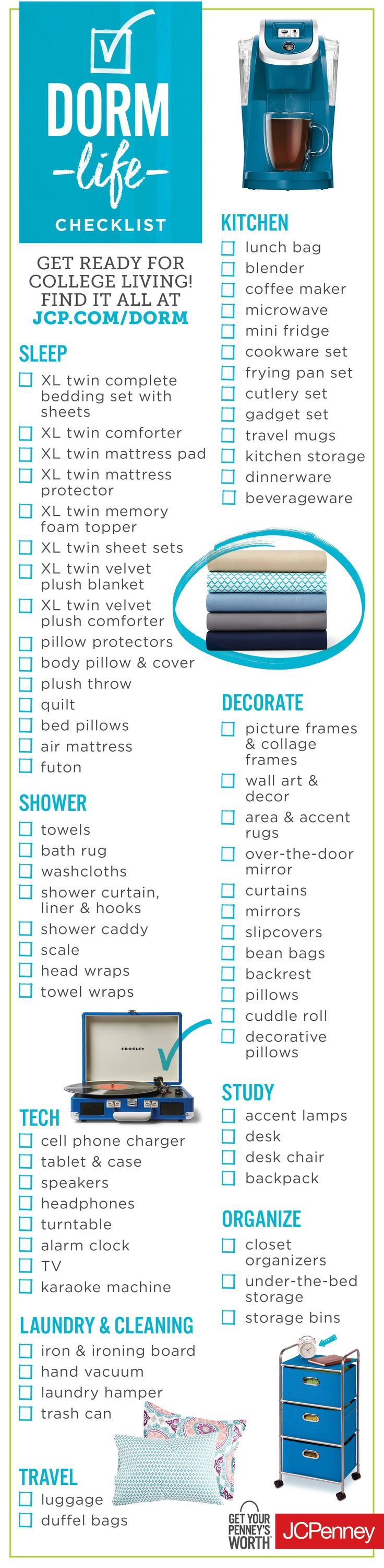 Get ready for college living with this easy dorm check list. We're talking towels, curtains, storage bins, luggage and pillows. Click the image to start dorm shopping! (scheduled via http://www.tailwindapp.com?utm_source=pinterest&utm_medium=twpin&utm_content=post91640119&utm_campaign=scheduler_attribution)