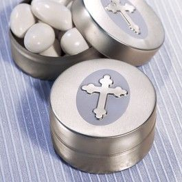 As Low As $0.69 Wedding Favor Containers - Set your event tables shimmering with a cool hint of lavender and elegant religious flair when you use Silver and Lavender Christian Metal Cases as part of your table decor and purposeful gift for guests to take home.