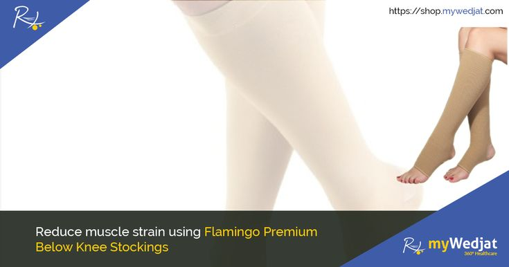 Premium Below Knee Stockings offered by Flamingo are ideally recommended to be used for varicose veins, post surgery, pregnancy and in mild to moderate strains.  #Flamingo #KneeCare #myWedjat