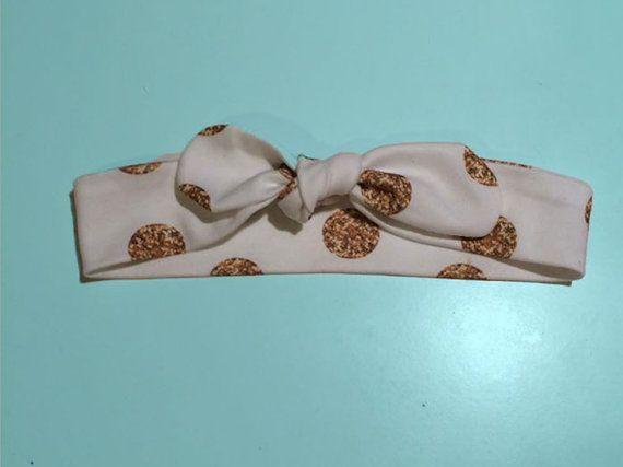 Organic cotton gold polka dot print bow knot topknot headband