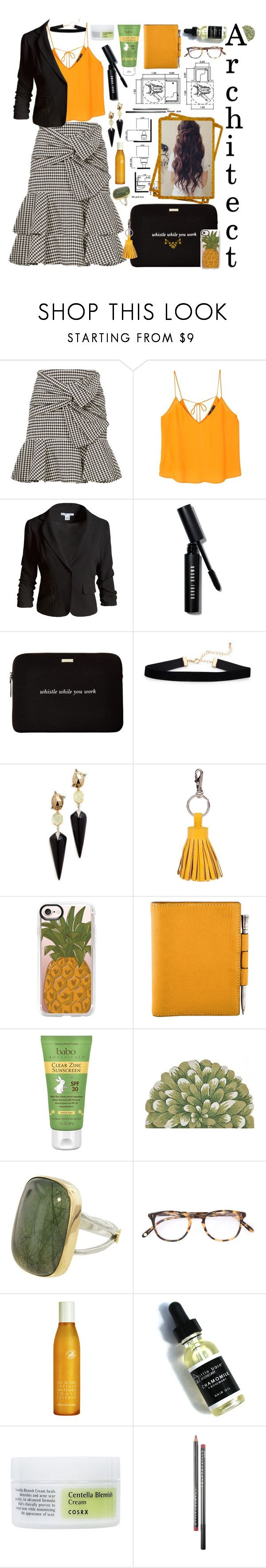 """""""//architect//"""" by maggiesmelody ❤ liked on Polyvore featuring Veronica Beard, MANGO, Sans Souci, Bobbi Brown Cosmetics, Kate Spade, Alexis Bittar, ILI, Casetify, Hermès and Babo Botanicals"""
