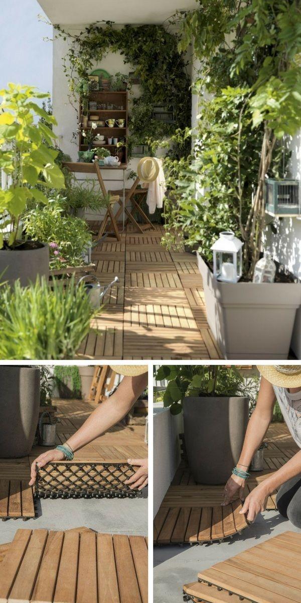Pour l'aménagement d'un petit balcon, n'oubliez pas le sol ! Vous p…
