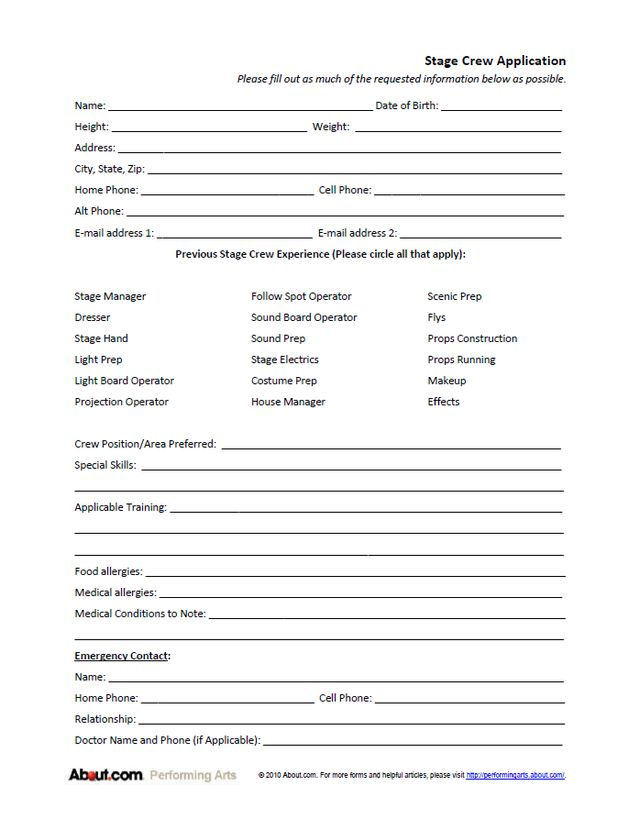 Stage Crew Application Form Stage crew, Application form