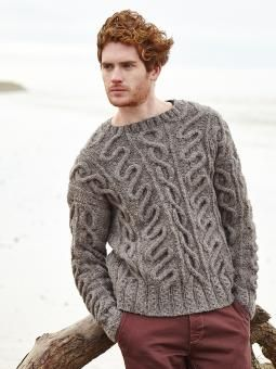 Fleet - Knit this mens cabled sweater from the Brushed Fleece brochure, designed by Martin Storey using the beautifully soft Brushed Fleece ( extra fine merino and baby alpaca ). With round neck and straight cast off sleeves. This knitting pattern is for an experienced knitter.