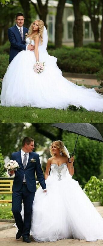 New Ivory White Lace Wedding Bridal Gown Dress Custom Size Tulle Dresses