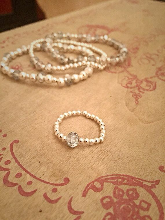 4 Piece Silver Plated Crystal Glass Bead Set by Alwaysbethemermaid