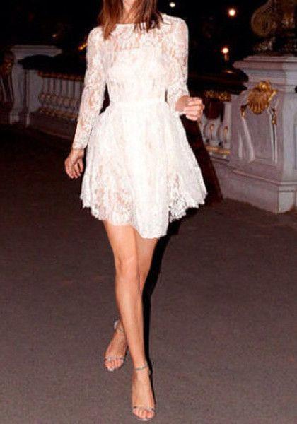 Asymmetric Lace Mini Dress - Lace Skater Dress