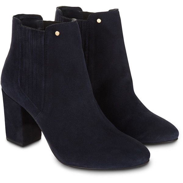 Monsoon Nyla Suede Chelsea Boot (£95) ❤ liked on Polyvore featuring shoes, boots, ankle booties, botas, heels, booties, chelsea boots, cold weather boots, suede ankle booties and heeled booties