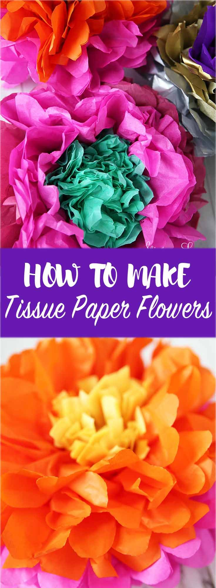 How to make tissue paper flowers! These inexpensive and easy flowers make a pretty decoration and a big impact.