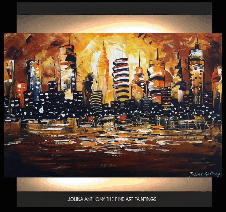 cityscape palette knife impasto painting from  jolina anthony gallery