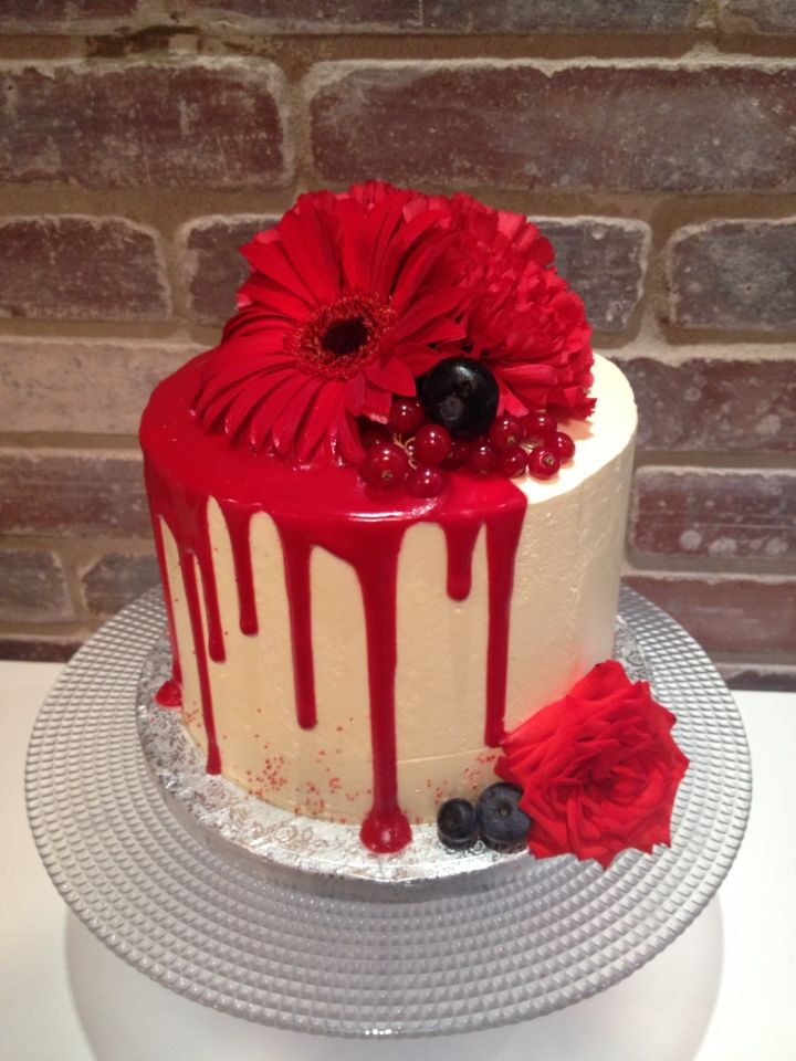 Red Drip Cake With Fresh Flower Drip And Fancy Cake