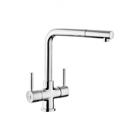 Rangemaster Aquadisc Chrome Double Lever Pull Out Spray Kitchen Mixer Tap