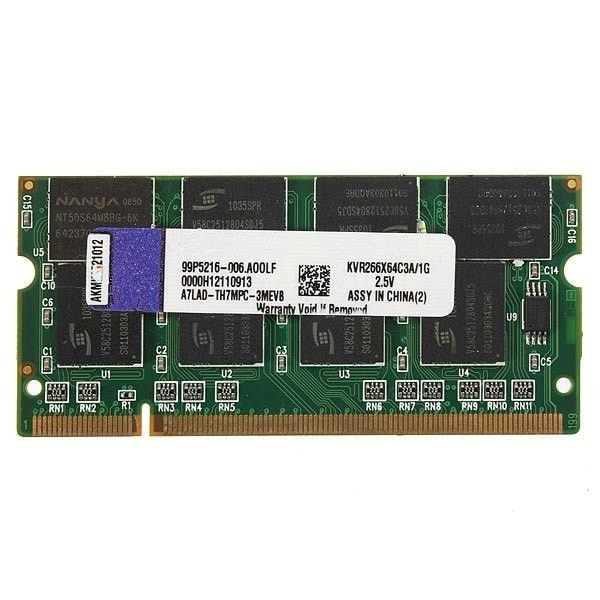 Ram Kit 200-pin Laptop 1gb Ddr-266 Pc2100 Non-ecc Sodimm Memory. Description: 1GB DDR-266 Non-ECC CL2.5 Laptop Notebook SODIMM Memory RAM KIT 200-pin  RAM features: Unbuffered Technology: DDR SDRAM Form factor: SODIMM 200-pin Memory speed [MHz]: 266 MHz Capacity: 1GB Memory specification compliance: PC2100 Data Integrity Check: Non-ECC CAS Latency timings: CL2.5 Supply Voltage: 2.5 V Fit: Laptop notebook  Package Included: 1 x Memory RAM