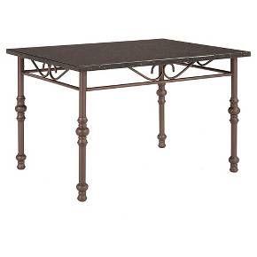 Defined by its contemporary yet feminine styling, the Innes Dining Table makes for a chic centerpiece to small dining spaces. The table features a black faux marble top with off-white specs for a fun finish. The bronze brown table legs and chair frames give a warm touch to the black table top. Scrollwork design on the apron adds visual interest. Pair this table with Innes Chairs for a polished look, or mix and match chairs for an inspired eclectic design.