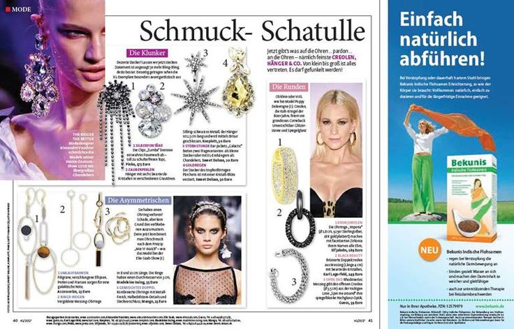 Imperia Earrings featured in the latest issue of German magazine Frau Im Spiegel