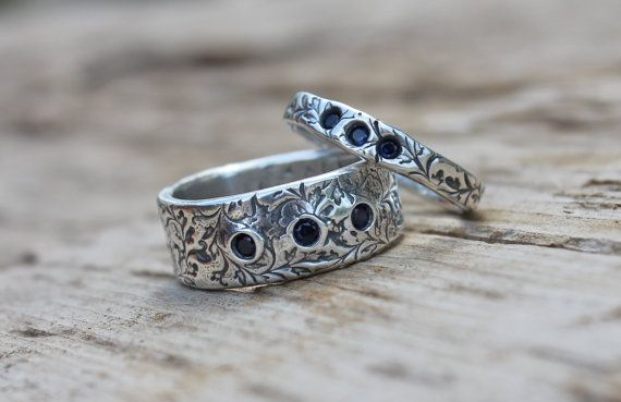 sapphire wedding ring eternity band set . engraved fair trade sapphire rings . orions belt recycled silver wedding rings by peacesofindigo via Etsy
