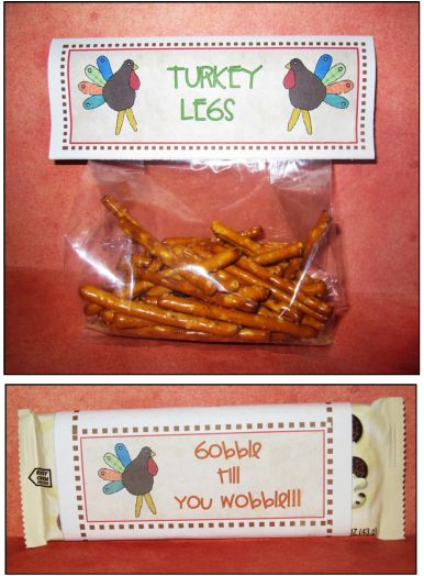 These Turkey Candy Bar Wrappers and Candy Bag Labels complete your treats! Just print out the labels, put them on or around your favorite candy and pass them out to all of your favorite people. Happy Thanksgiving!