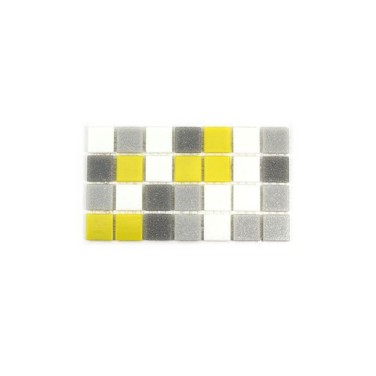 "Sample of Brio Blend City Sunshine - Glass Mosaic Tile - Sample of Brio ""City Sunshine"" glass tile blend is a fresh combination of greys, whites and bright yellow. Classic and Urban Cool. This mosaic glass tile blend is well suited for any application including kitchen backsplash tile, bathroom tile, floor tile, fireplace tile and pool tile. It comes mesh-backed by the 1.15 square foot sheet of 225 tiles. Perfect for any interior and exterior applications."