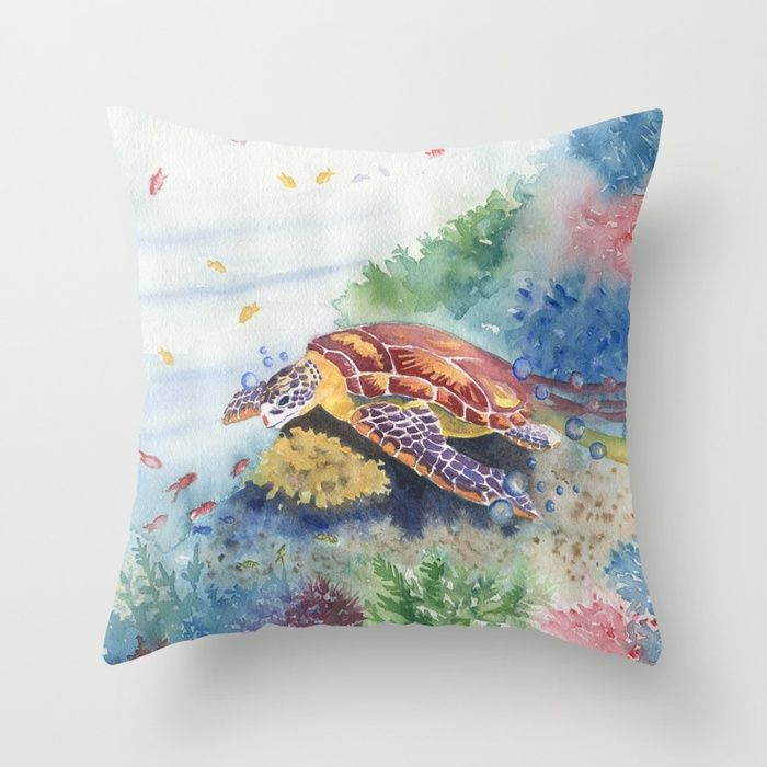 Sea Turtle and Friends by Melly Terpening Throw Pillow made from 100% spun polyester poplin fabric, a stylish statement that will liven up any room. Individually cut and sewn by hand, each pillow features a double-sided print and is finished with a concealed zipper for ease of care.  Sold with or without faux down pillow insert.
