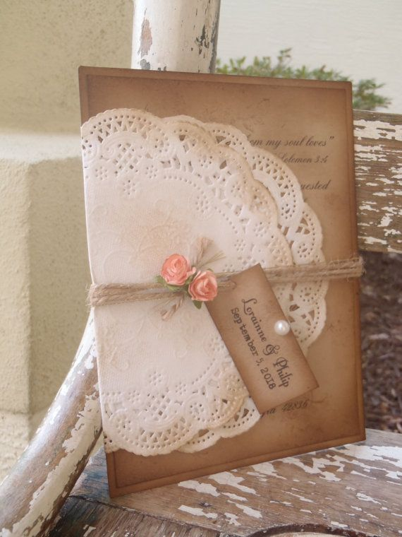 Coral Peach Pink Romantic Lace Doily Ivory by WALKinLOVEdesigns
