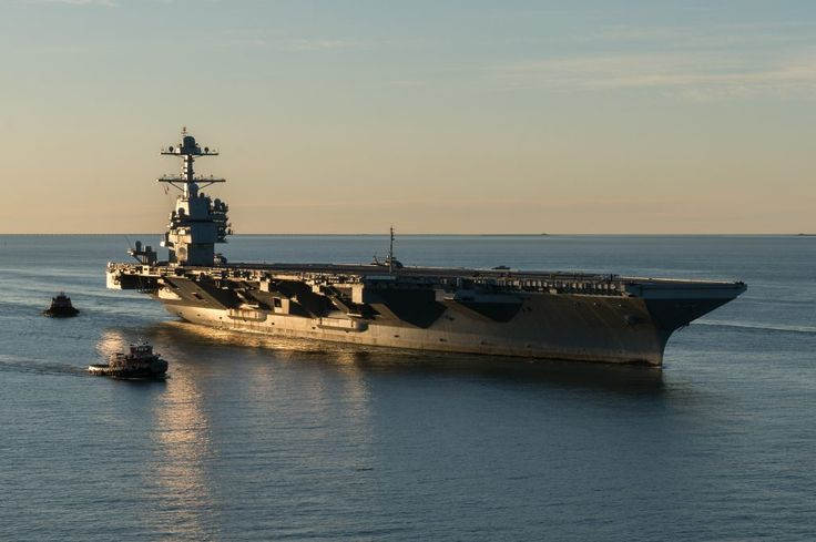 NORFOLK (April 14, 2017) The aircraft carrier Pre-Commissioning Unit (PCU) Gerald R. Ford (CVN 78) pulls into Naval Station Norfolk for the first time.
