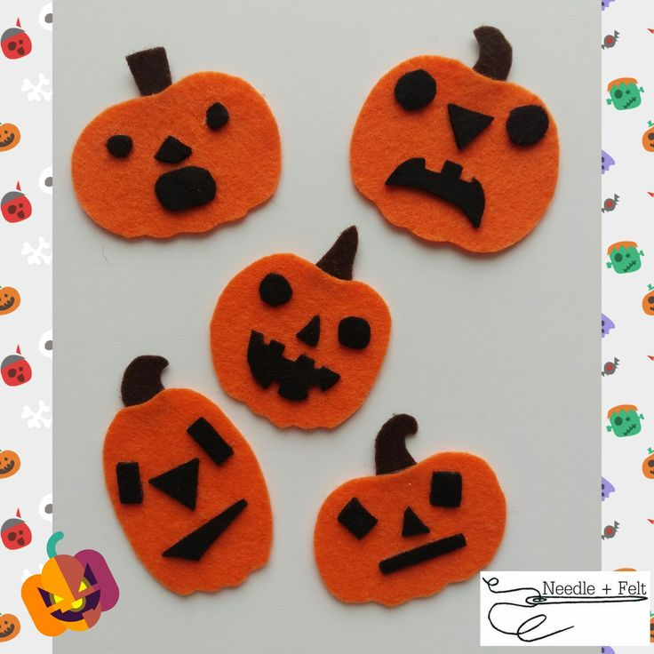 5 Scary Pumpkins with a poem by Needle + Felt. Counting Halloween Fun.