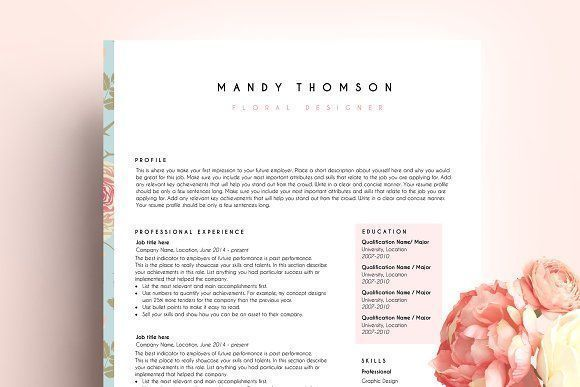 resume template ms word floral by PinkJellyfish on @creativemarket Ready for Print Resume template examples creative design and great covers, perfect in modern and stylish corporate business. Modern, simple, clean, minimal and feminine layout inspiration to grab some ideas.
