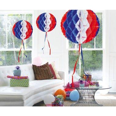 Honeycomb bol - 30 cm - rood/wit/blauwe  Deze bolvormige honeycomb is de perfecte decoratie voor jouw USA of Hollands feestje!  EUR 2.45  Meer informatie
