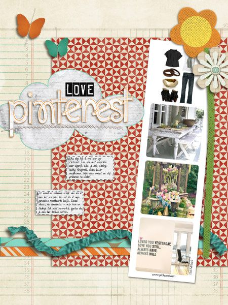 """This scrapbook page is titled """"Love Pinterest.""""  Very cute, n'est-ce pas?"""