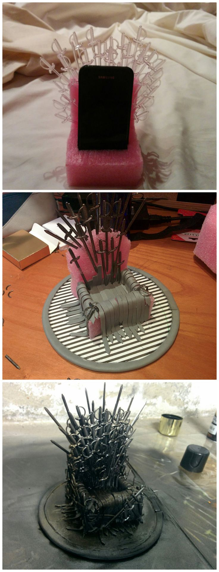 20 DIY Projects To Help Game of Thrones Fans Survive The Winter. I don't even like GoT but the phone holder one i would do just for fun! so cool