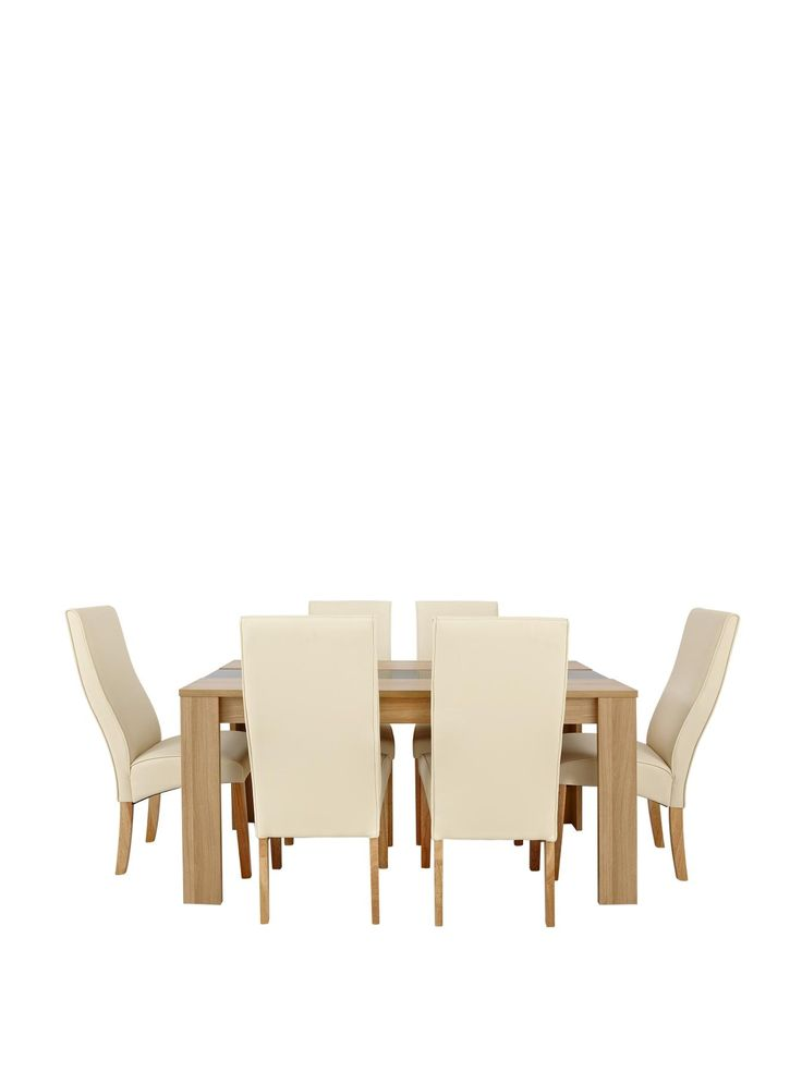 SAVE money with this package deal that gives you the Joanna Dining Table plus 6 Buckingham Chairs for lower price than if you purchased them separately Dinner parties and family meals will feel a lot more stylish when everyone is sitting around this contemporary dining table.Measuring a metre and a half in length, it flaunts a choice of oak-effect or walnut-effect finishes, each of which has a rich grain detail.This is offset beautifully by the black glass panel that runs down the centre of…