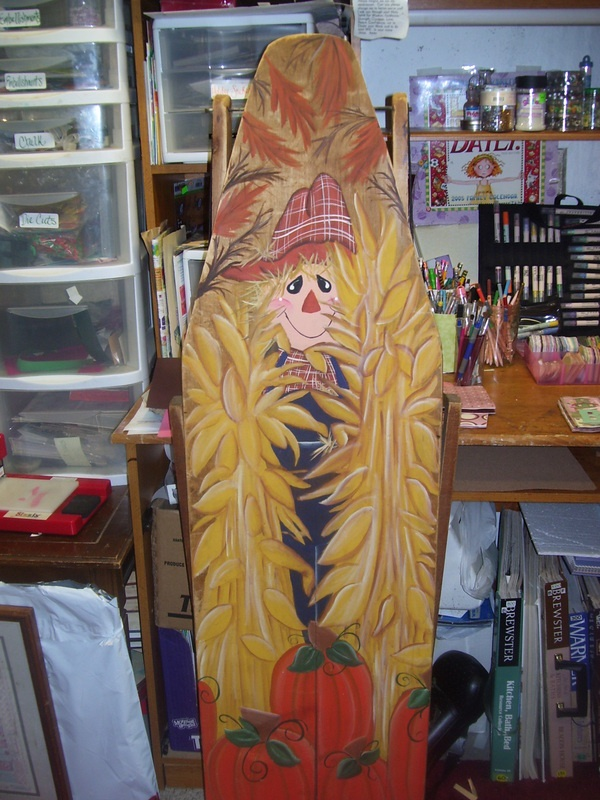 an old ironing board i painted!!
