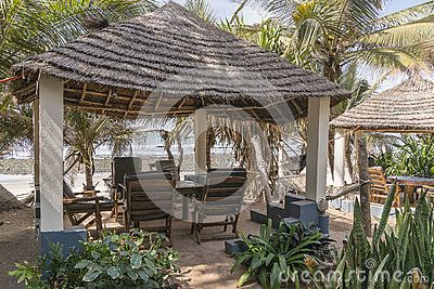 Restaurant in the Hotel resort in Serrekunda , Banjul  at the beach in Gambia, Africa.