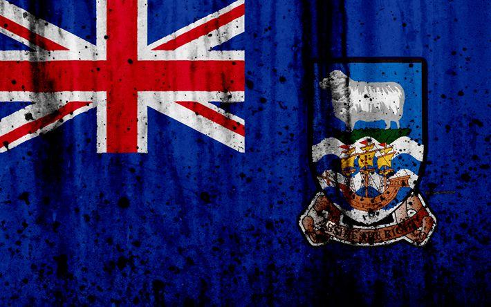 Download wallpapers Falkland Islands flag, 4k, grunge, South America, flag of Falkland Islands, national symbols, Falkland Islands, coat of arms Falkland Islands, national emblem