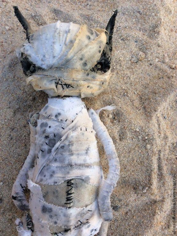 Купить Кошка - белый, коллекционные игрушки, коллекционная кукла, мумия, Алёна Жиренкина, плюш