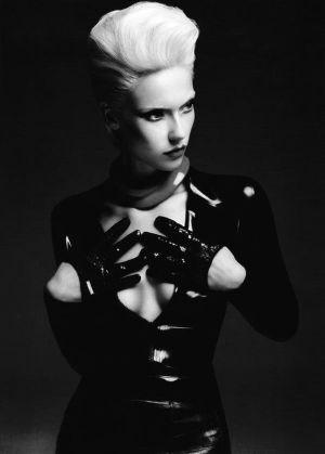 Futuristic Fashion, Girl in Black, Futuristic Style, Girl in Latex, Future Fashion, Latex Gloves, Blond, Black & White, Hairstyle by FuturisticNews.com