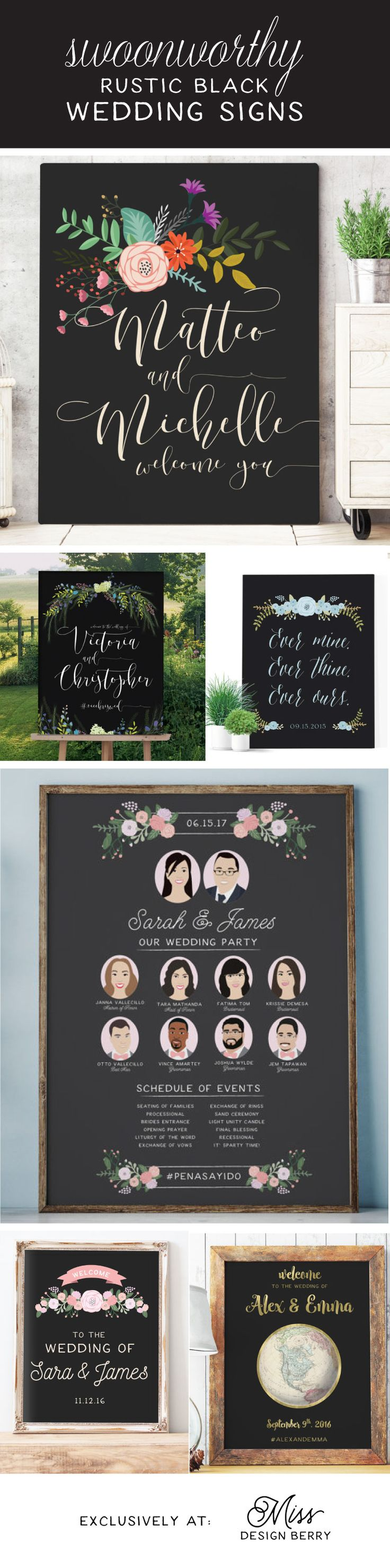 Rustic black wedding signs to make you swoon!