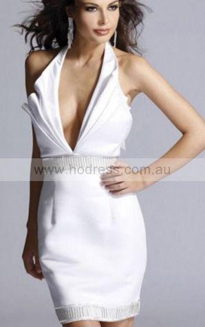 Sheath Halter Knee-length Satin Natural Evening Dresses gt1730--Hodress