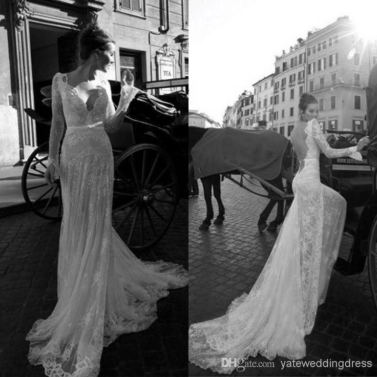 Wholesale Backless Wedding Dresses - Buy 2014 Sexy Backless Vintage Beaded Mermaid Lace Beach Wedding Dresses With V Neck Long Sleeves Court Train, $146.0 | DHgate