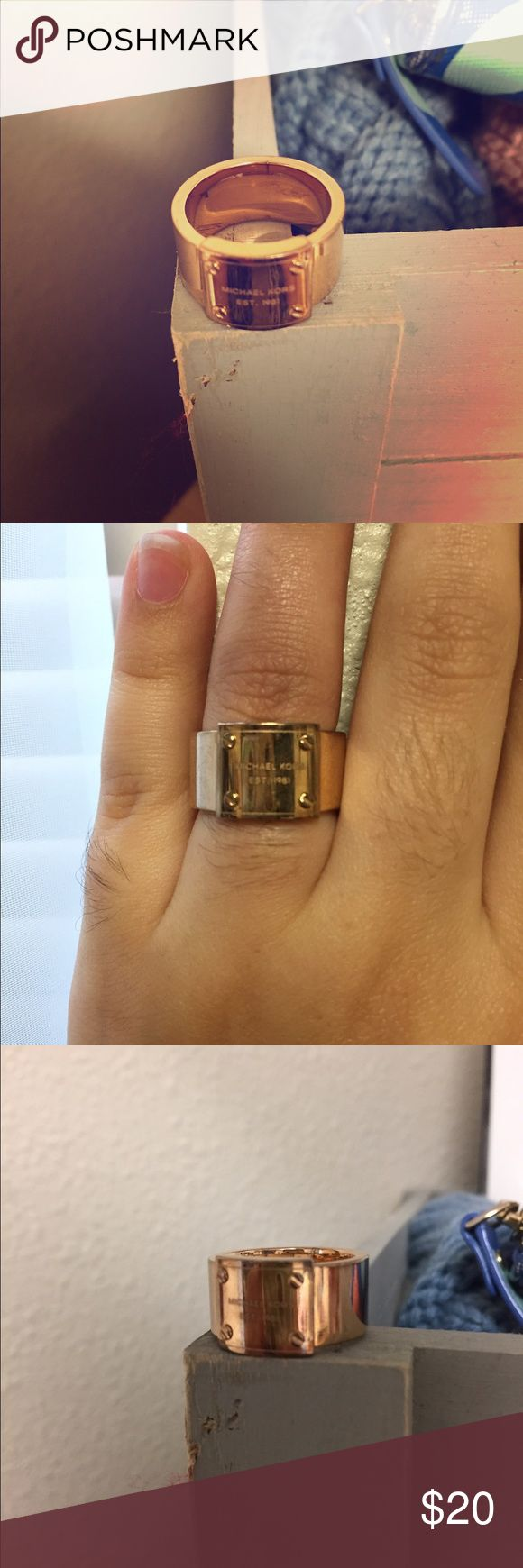 Michael Kors ring sorry for such awkward pictures! The lighting in my dorm is not good! Worn once!!! Very pretty on!!! Copper color. KORS Michael Kors Jewelry Rings